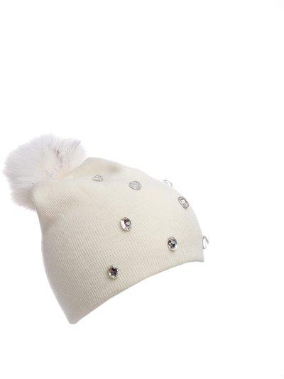 Шапка трикотаж, цвет белый; помпон песец 305155