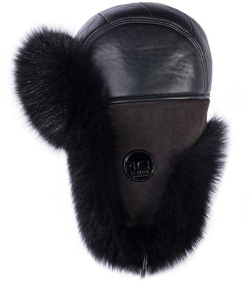 Ушанка мех песец, кожа, подклад овчина, цвет черный 3315-18 RICH