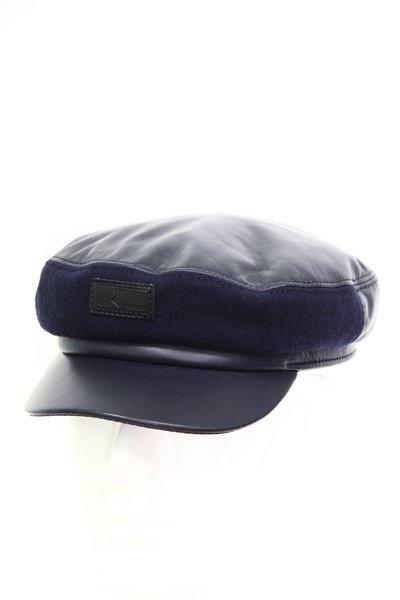 Капитанка NAV, кожа, отделка ткань, цвет синий 2305-35