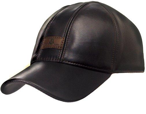 Бейсболка, кожа, цвет коричневый 0604