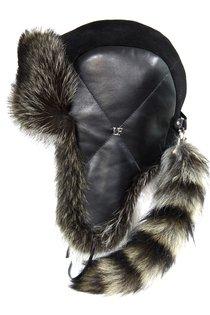 Ушанка LF North Wind SL, мех енот, кожа, замша, цвет черный