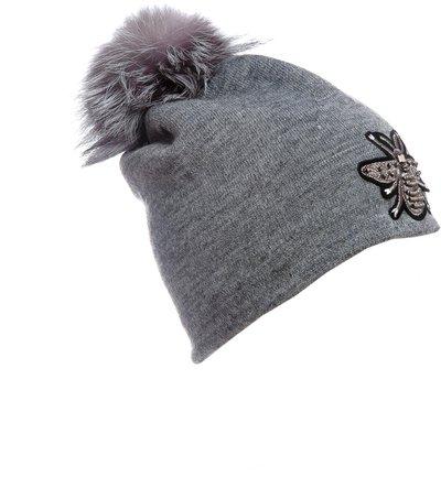 Шапка трикотаж, цвет серый; помпон чернобурка 302102