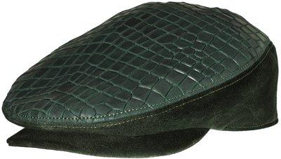 Кепка из замши с вставками из кожи крокодила; цвет зеленый 01019-20LF