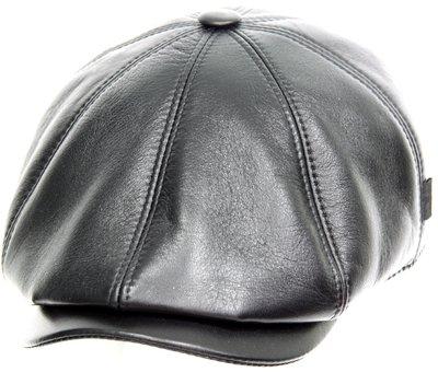 Кепка восьмиклинка, кожа, цвет черный 0402