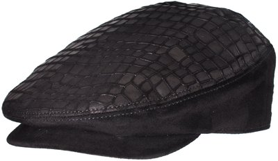Кепка из замши с вставками из кожи крокодила; цвет черный 01021-1LF
