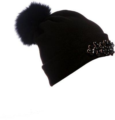 Шапка трикотаж, цвет черный; помпон песец 40161