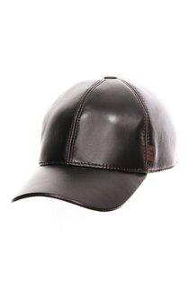 Бейсболка classic, кожа, цвет коричневый
