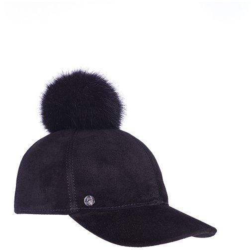 Бейсболка CAPRICE, замша, цвет черный, помпон песец 0701-11