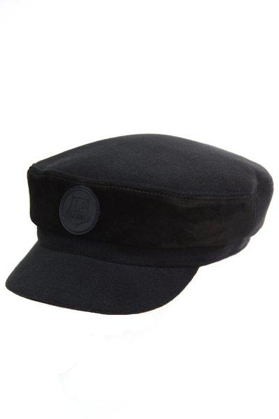 Капитанка LF-LABEL, ткань, замша, цвет черный 231-9-1 LF-LABEL