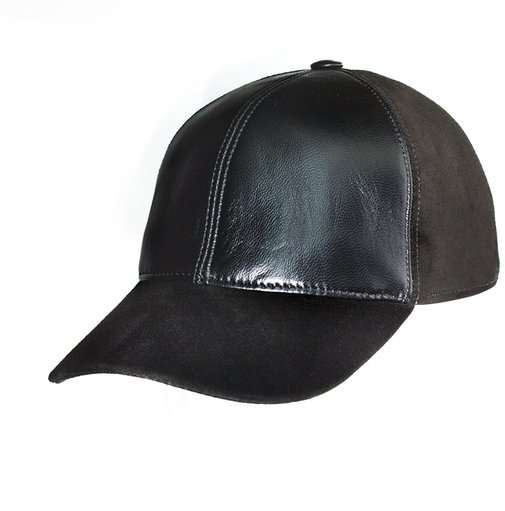 Бейсболка, кожа, замша, цвет коричневый 0701-2