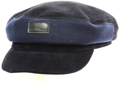Капитанка NAV, замша, ткань (шерсть), цвет синий 2306-35