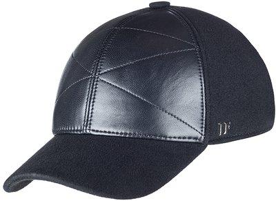 Бейсболка, кожа, ткань, цвет чёрный 0302-9