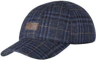 Бейсболка, London, ткань (шерсть), цвет синий клетка 061-25