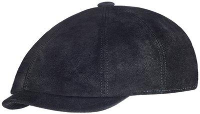 Кепка восьмиклинка, замша, цвет черный 0401