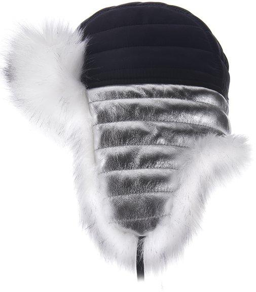 Ушанка LF SILVER, мех лиса (искусственный), ткань плащевая, цвет черный, серебро 3716-1