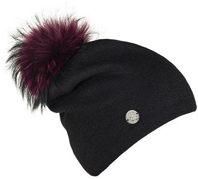 Шапка трикотаж, цвет черный; помпон чернобурка 301232