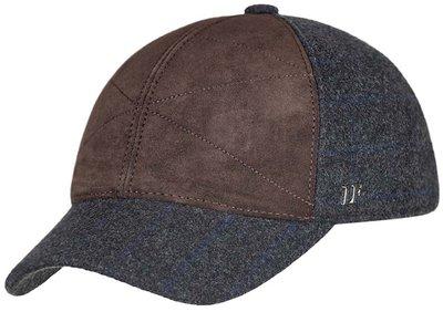 Бейсболка, замша коричневая, ткань серая 0303-34