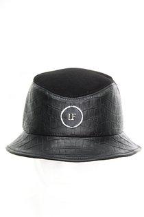 Панама LF-LABEL, кожа крокодил (принт), ткань, цвет черный