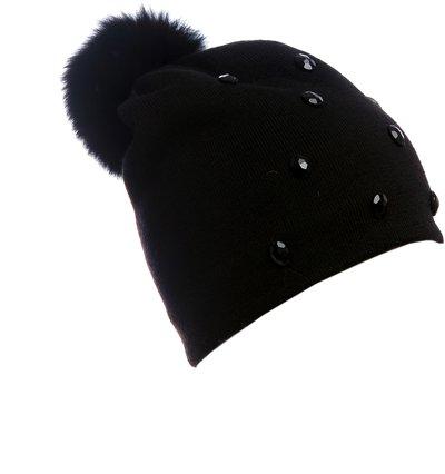 Шапка трикотаж, цвет черный; помпон песец 301141