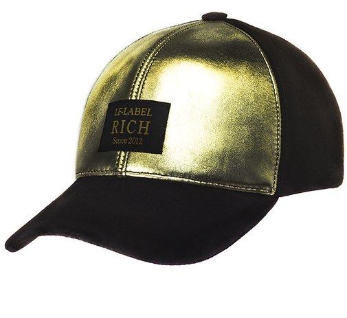 Бейсболка RICH, кожа черная, кожа золото 0701-17