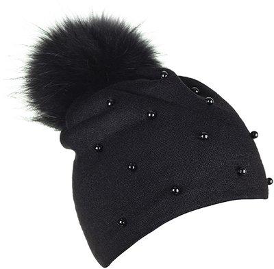 Шапка трикотаж, цвет черный; помпон песец 30181