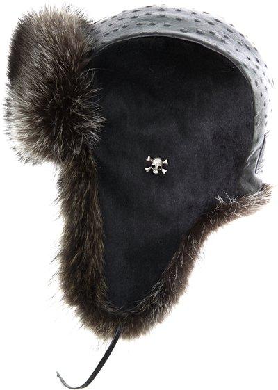 Ушанка LF-Gloss, мех енот, теленок, кожа страус 271414-15