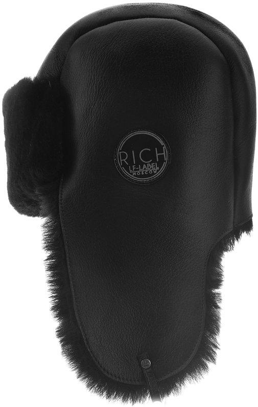 Ушанка, овчина merinos, цвет черный 028 RS