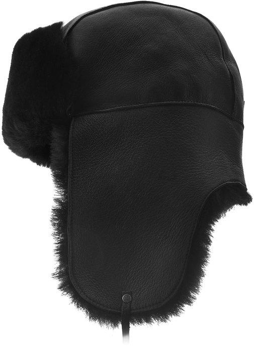 Ушанка, овчина merinos, цвет черный 030