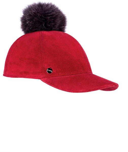 Бейсболка CAPRICE, замша, цвет красный, помпон песец 07075-21