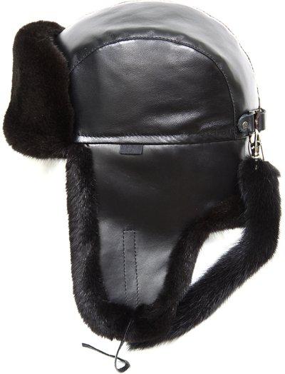 Ушанка, мех норка, кожа, подклад овчина, цвет черный 1516