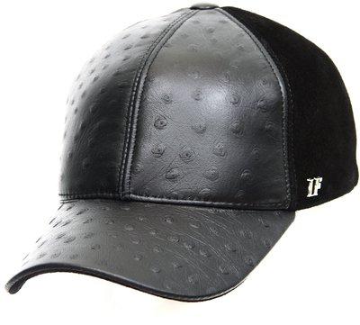 Бейсболка classic, кожа страус, замша, цвет черный 07014-1