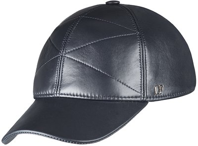 Бейсболка, кожа, цвет черный 0302