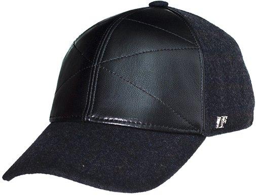 Бейсболка, кожа, ткань, цвет черный 0302-34