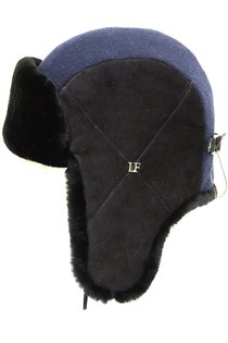 Ушанка LF HatX, овчина, замша, драп, цвет синий