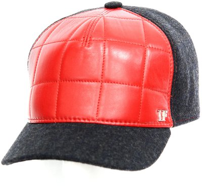 Бейсболка LF Cap color, кожа, ткань (шерсть), цвет красный 022S010-34